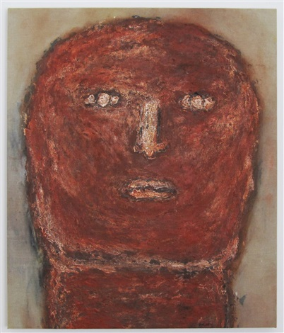 untitled colossus head by leon golub