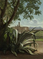 the basilica and monastery of s. croce in gerusalemme, rome, seen from the villa wolkonsky by carl vilhelm balsgaard