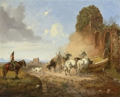 cattle watering at a fountain on the via appia antiqua by heinrich bürkel