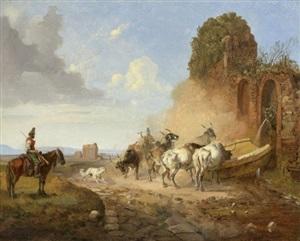 eine viehtränke an der via appia antiqua mit resten eines aquäduktes im hintergrund, rom /<br>cattle watering at a fountain on the via appia antiqua by heinrich bürkel