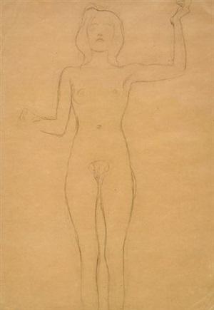 stehender weiblicher akt mit erhobenem arm by gustav klimt