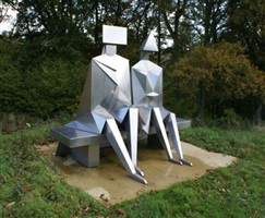 sitting couple on bench by lynn chadwick