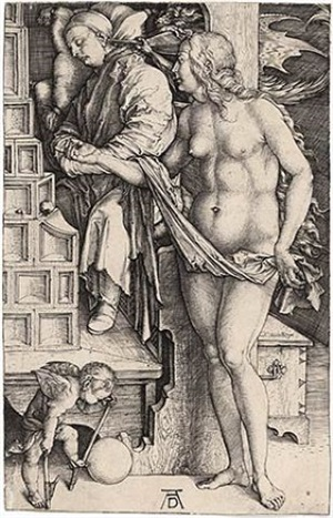 the dream of the doctor (the temptation of the idler) by albrecht dürer