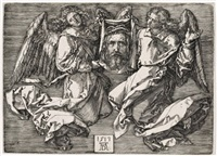 sudarium of saint veronica supported by two angels by albrecht dürer
