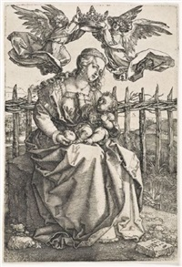madonna crowned by two angels by albrecht dürer