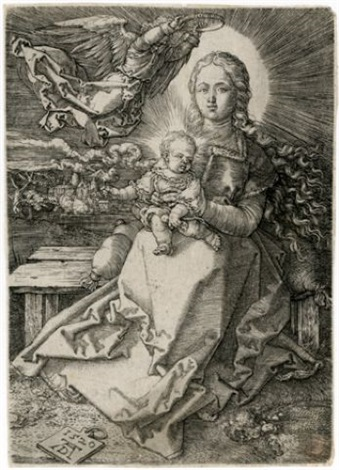 madonna crowned by one angel by albrecht dürer
