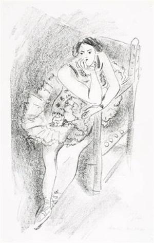 danseuse au fateuil en bois (dancer in a wooden armchair) by henri matisse