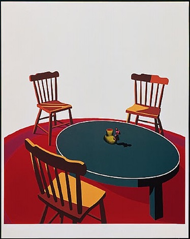 chairs, table, rug, cup by ken price