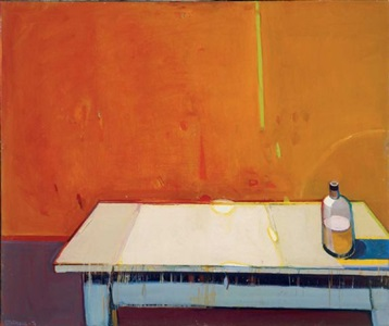 the empty table with a green stripe by raimonds staprans