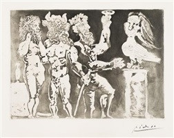 chez la pythie-harpye. homme au masque de minotaure et femme au masque de sculpteur (at the pythie-harpye house. man with the mask of a minotaur and woman with the mask of the sculptor) by pablo picasso