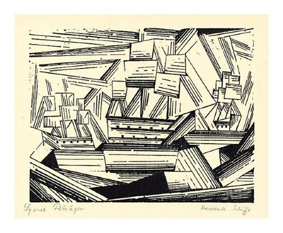 kreuzende segelschiffe 2 (cruising sailing ships 2) by lyonel feininger