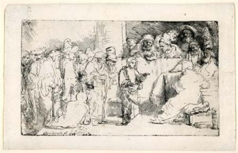 christ disputing with the doctors: a sketch by rembrandt van rijn