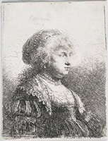 saskia with pearls in her hair by rembrandt van rijn