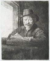 self-portrait drawing at a window by rembrandt van rijn