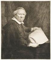 lieven willemsz van coppenol, writing-master: the smaller plate by rembrandt van rijn