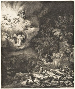the angel appearing to the shepherds by rembrandt van rijn