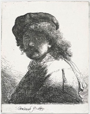 rembrandt in a cap and scarf with the face dark: bust by rembrandt van rijn