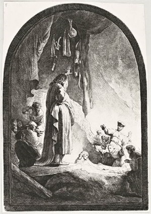 the raising of lazarus: the larger plate by rembrandt van rijn