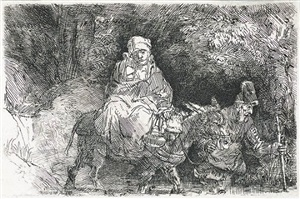 the flight into egypt: crossing a brook by rembrandt van rijn