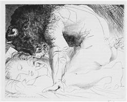 minotaure caressant une dormeuse by pablo picasso