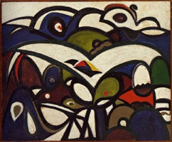 mountain and bird composition by richard pousette-dart