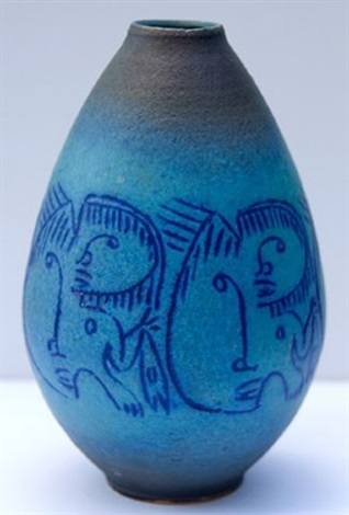 vase with scraffito by edwin and mary scheier