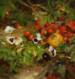tomatoes and pansies by kathy anderson (sold)