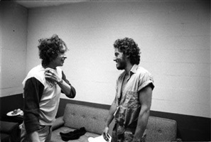 bob dylan and bruce springsteen meeting for first time, backstage, new haven, ct, 1975 by ken regan
