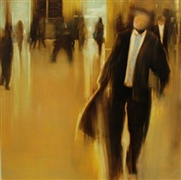 nyc, grand central station, commuter life by david allen dunlop (sold)