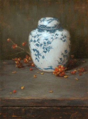 ginger jar and bittersweet by grace mehan de vito (sold)
