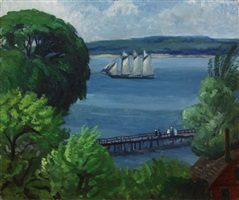 passing schooner by john french sloan