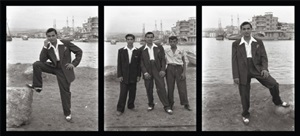 men posing in harbour by akram zaatari