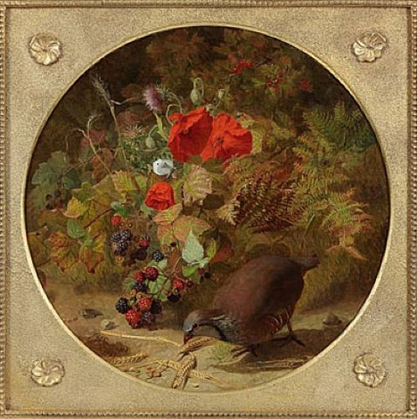 the four seasons: autumn – partridge with wheat, raspberries and poppies (one of a set of four) by eloise harriet stannard