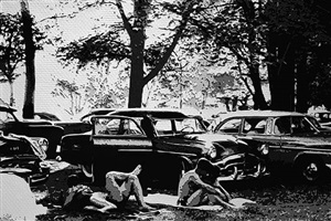 public park, ann arbor, michigan, after robert frank (pictures of paper) by vik muniz
