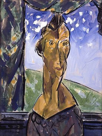 portrait of a woman in window by alfred henry maurer