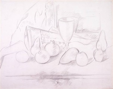 still life: goblet and fruit by marsden hartley