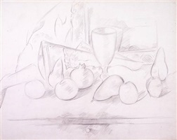 still life: goblet and fruit by marsden hartley