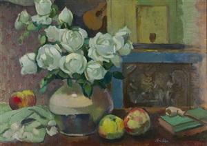 stillleben mit früchten und rosen by emanuel fohn