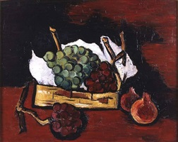 green and purple grapes in a basket by marsden hartley