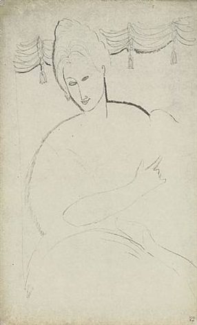 woman seated with dog in front of tasselled pelmet - verso by amedeo modigliani
