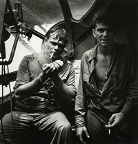 rescued airman smoking aboard pby by horace bristol
