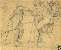 two men tying up a sack by giulio campi