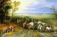 panoramic landscape with travellers by jan brueghel the elder