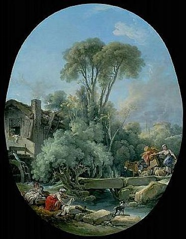 landscape with a rustic bridge by françois boucher