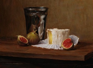 figs and cheese with silver cup by grace mehan de vito (sold)