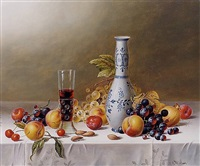 <i>still life with delft vase, red wine and fruit on a tablecloth</i> by roy hodrien