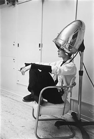 "audrey hepburn under the dryer, ""sabrina"", 1953 by mark shaw"
