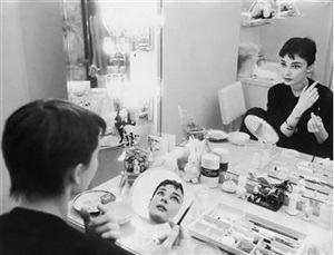 audrey hepburn photographed for mademoiselle in 1954 in her dressing room backstage at ondine by mark shaw