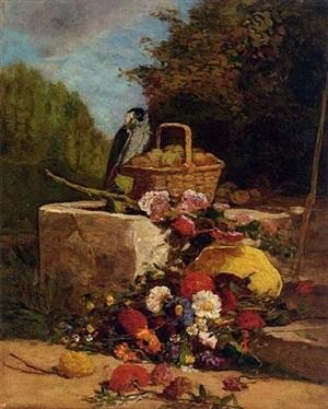 perroquet, fruits et fleurs dans un jardin by eugène boudin