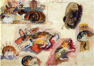 etude de chats et une tête by paul gauguin
